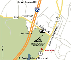 Map of Rt. 95 (Triangle, VA) to Musuem