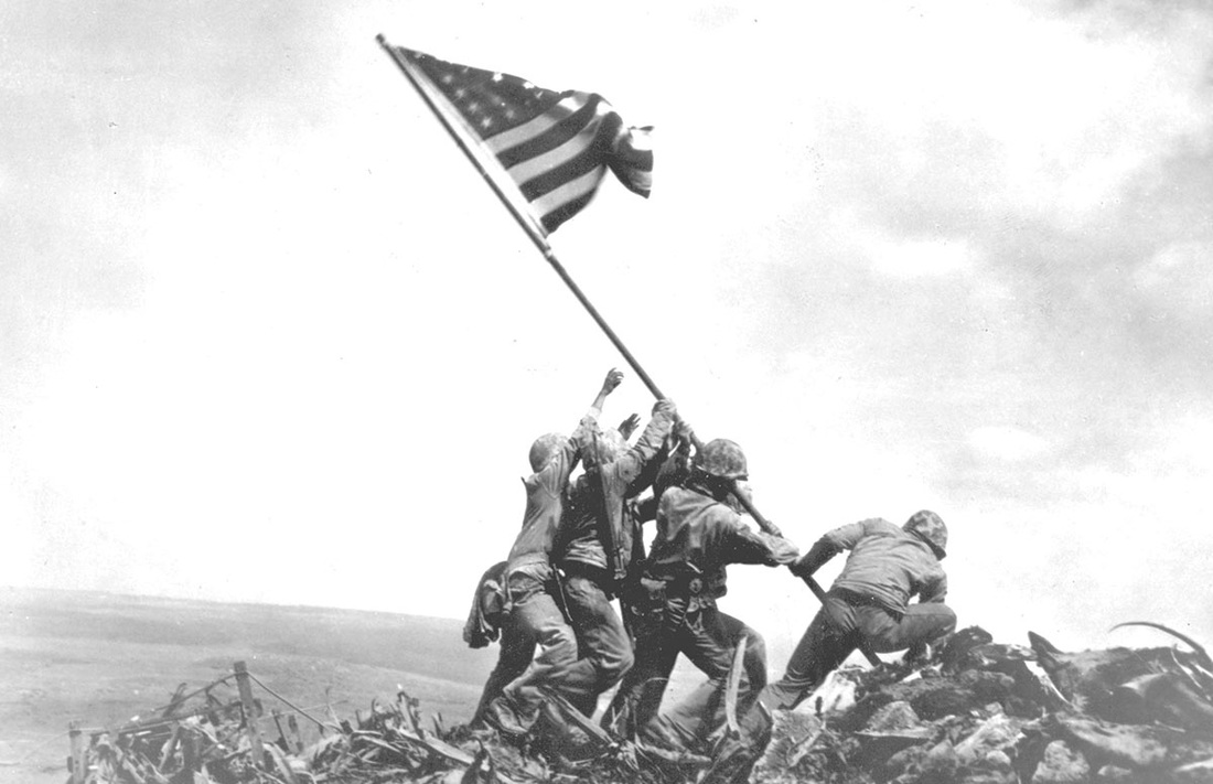 Photo of flag raising on Iwo Jima