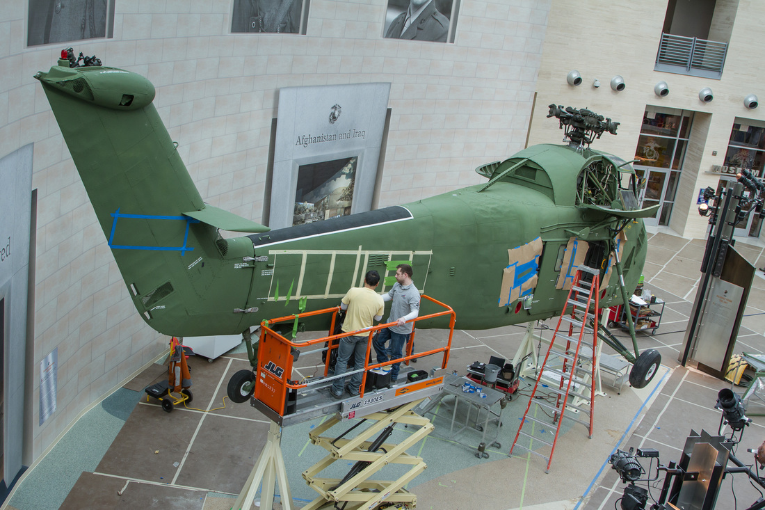 PHOTO: Sikorsky UH34D being installed in the Museum